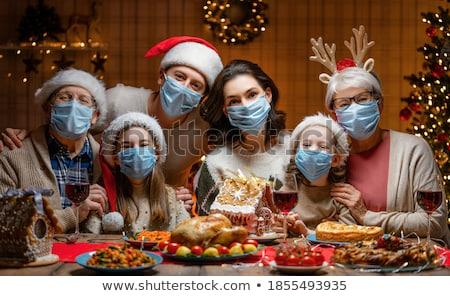 ребенка Рождества обеда дедушка и бабушка женщину вино Сток-фото © monkey_business