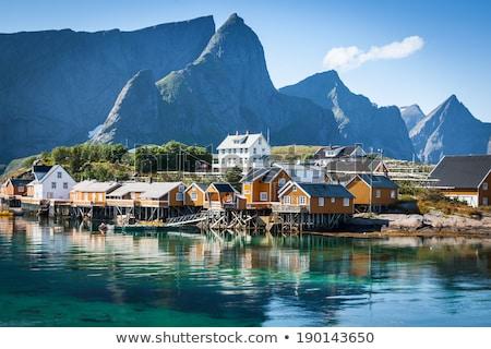 Traditioneel vissersboot dorp Noorwegen landschap schoonheid Stockfoto © Nejron