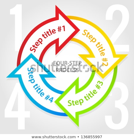 Four-step process diagram with grey arrows and large 1234 figures Stock photo © liliwhite