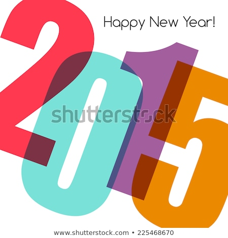 Modern red simple Happy new year card (2015) Stock photo © orson