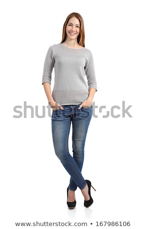 blonde woman  in jeans and sweater stock photo © zastavkin