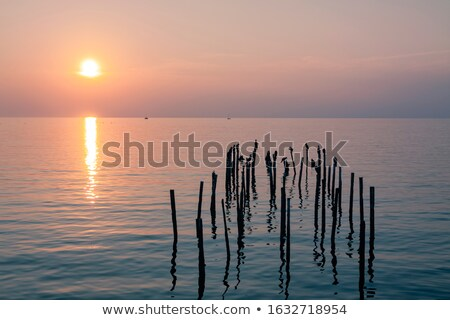 red hot silhouette of boat and birds at sunset Stock photo © morrbyte