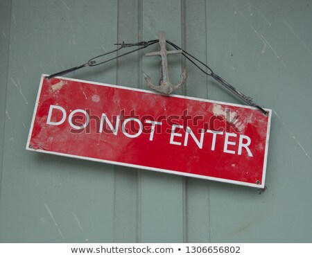 red plastic no enter sign on wooden background.  Stock photo © inxti