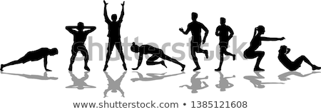 entraînement · silhouettes · sport · gymnase · amusement · muscle - photo stock © Slobelix