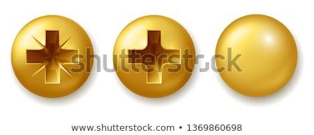 Goud schroef zeshoek hoofd bout geïsoleerd Stockfoto © nemalo