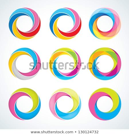 sphère · icône · tourbillons · transparent · bleu - photo stock © evetodew