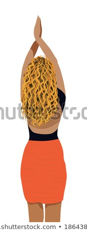 Glamour. Blonde Posing in Red Blouse and Black Skirt Stock photo © gromovataya