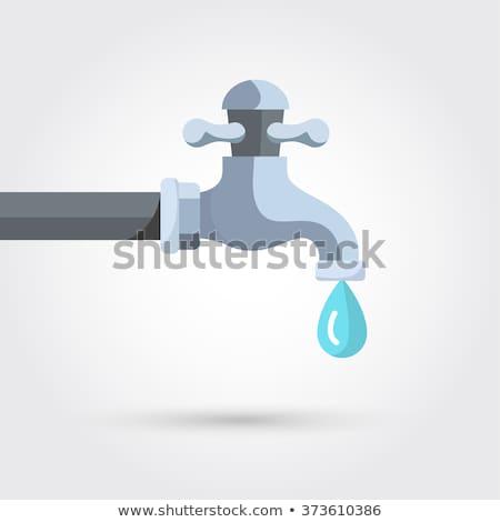 kropla · wody · kran · objętych · formularza · niebieski · łazienka - zdjęcia stock © valeriy