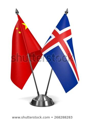 Çin İzlanda minyatür bayraklar yalıtılmış beyaz Stok fotoğraf © tashatuvango