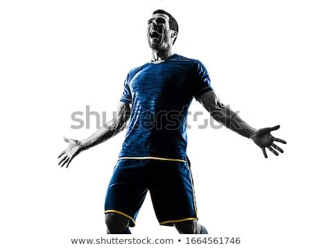 Portret voetballer juichen witte voetbal voetbal Stockfoto © wavebreak_media