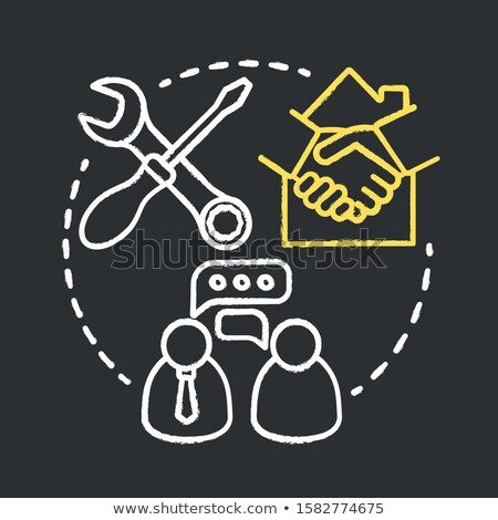 smart house technology icon drawn in chalk stock photo © rastudio