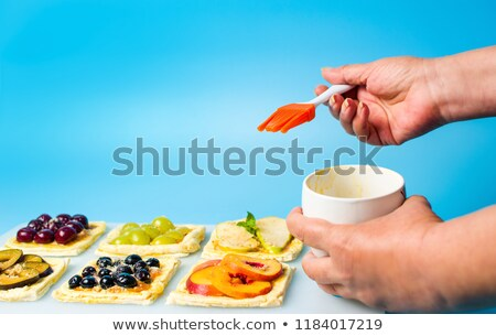 blue tray of white eggs with pear Stock photo © GeniusKp