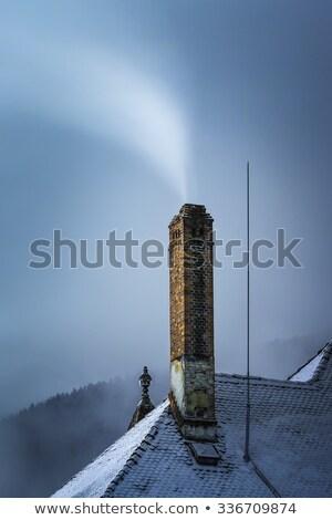 Dumanlı baca kar kapalı çatı Stok fotoğraf © photosebia