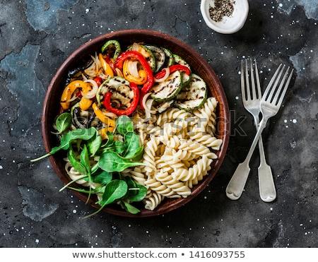 makarna · domates · çatal · domates · parçalar - stok fotoğraf © digifoodstock