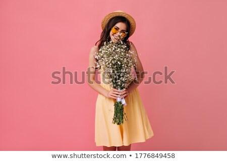 bella · bruna · donna · favoloso · fiore · Hat - foto d'archivio © svetography
