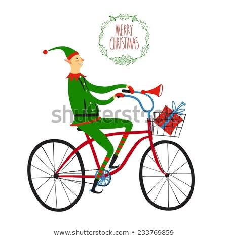 cin · bisikletçi · şerit · antika · bisiklet · can - stok fotoğraf © elgusser