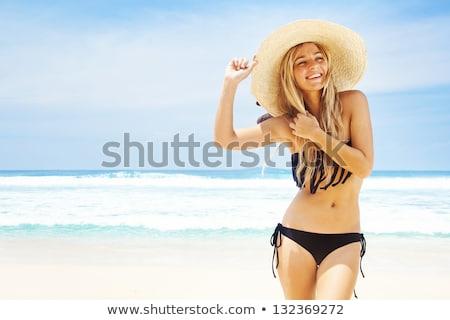 楽しい · 若い女の子 · 夏 · 帽子 · 水着 · 時間 - ストックフォト © svetography