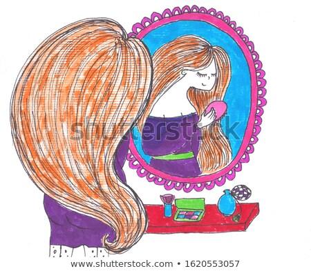 Nő tetoválás kéz áll tükör hátulnézet Stock fotó © deandrobot