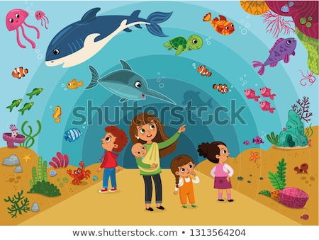 Foto stock: Pessoas · aquário · ilustração · menina · peixe · vidro