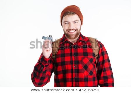 Gülen gündelik adam gaz çakmak Stok fotoğraf © deandrobot