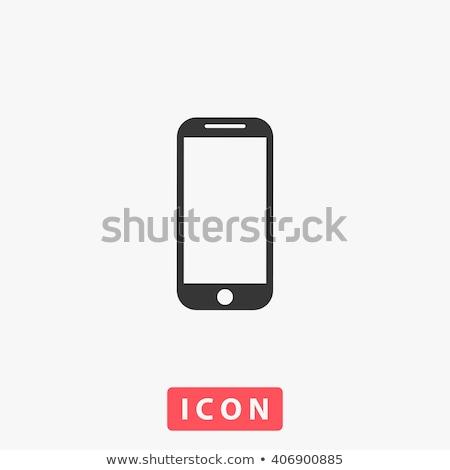 Ikona telefony komórkowe ilustracja biały technologii tle Zdjęcia stock © bluering