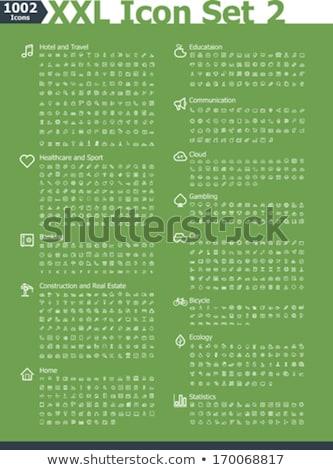 Kaszinó hazárdjáték vonal ikon szett szett ikonok Stock fotó © Voysla