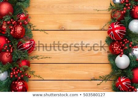 Рождества · границе · красный · украшения · соснового - Сток-фото © ozgur