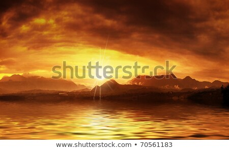 hot sunset over water surface stock photo © konradbak