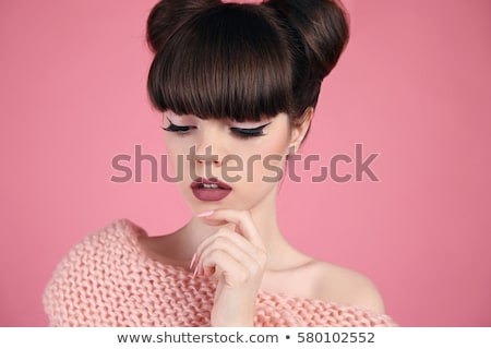closeup portrait of a cute girl with a pink hairstyle stock photo © konradbak