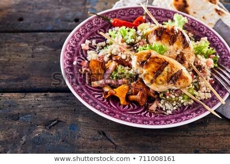 Kuskus tavuk çanak baharatlı et barbekü Stok fotoğraf © Digifoodstock