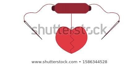 Rood hart gescheurd twee witte Stockfoto © albund