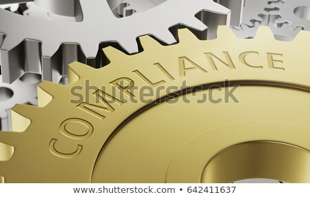Metal gear wheels with the engraving Compliance - 3d render Stock photo © Zerbor