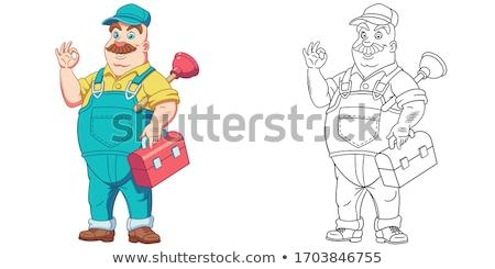 Black Plumber Handyman With Punger Cartoon Man Stock photo © Krisdog