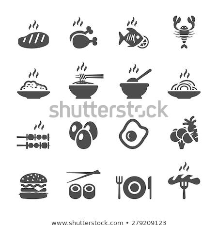 Rizs főtt kolbász háttér asztal ebéd Stock fotó © M-studio