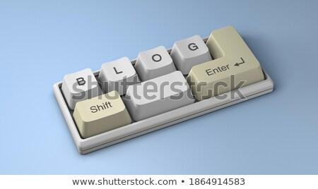 Blog primer plano teclado 3d moderna amarillo Foto stock © tashatuvango