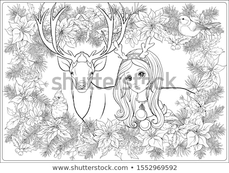 Coloring book about deer in Christmas hat Stock photo © Olena