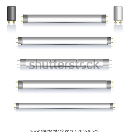 set of fluorescent lamps with mirror reflection vector illustration stock photo © kup1984