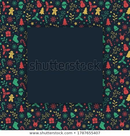 Retro kerstmis briefkaart helling boom Stockfoto © barbaliss