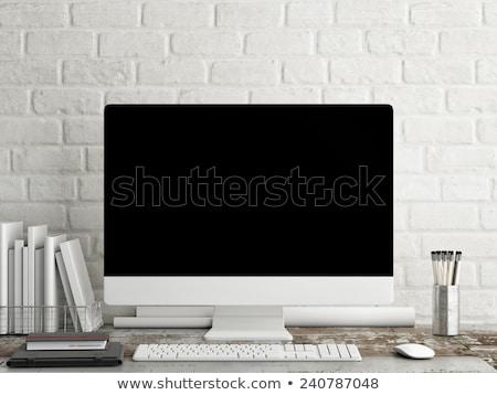 üzlet távközlés sötét téglafal firka ikonok Stock fotó © tashatuvango