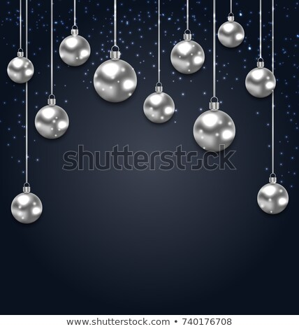 Christmas Silver Glassy Balls on Magic Dark Background Stock photo © smeagorl