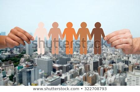 Siluet birlik siyah dostluk dayanışma insanlar Stok fotoğraf © Olena
