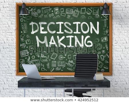 La toma de decisiones dibujado a mano verde pizarra garabato iconos Foto stock © tashatuvango