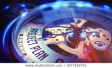 Foto stock: Estratégia · vintage · ver · ilustração · 3d · estratégia · de · negócios · cara