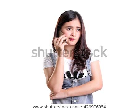 chateado · triste · mulher · falante · telefone · móvel · celular - foto stock © deandrobot