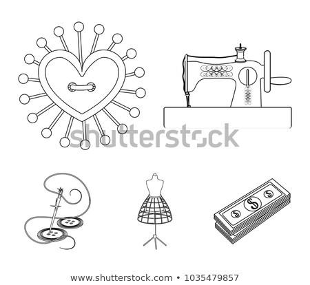 Aiguille travaux icône illustration attaché bobine Photo stock © lenm