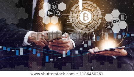 bitcoins with mobile phone Stock photo © compuinfoto