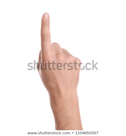 Mannelijke hand wijsvinger pop art retro business Stockfoto © studiostoks