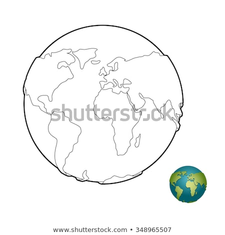 Earth coloring book. Heavenly body. Planet with mainlands. Globe Stock photo © popaukropa