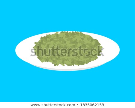 Green Lentil cereal in plate isolated. Healthy food for breakfas Stock photo © MaryValery