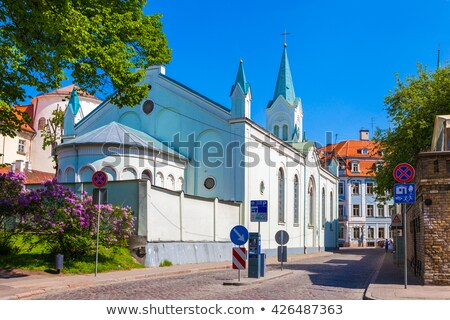 Bayan kilise Riga Letonya manzara mavi Stok fotoğraf © benkrut